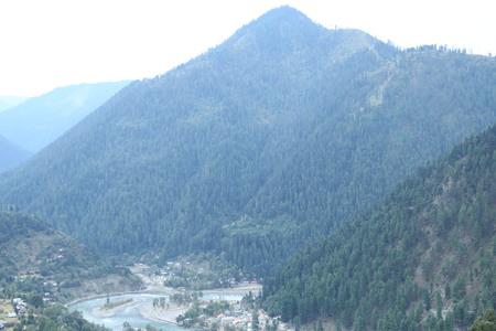 The beautiful scene of big mountain  under fog Stock Photo