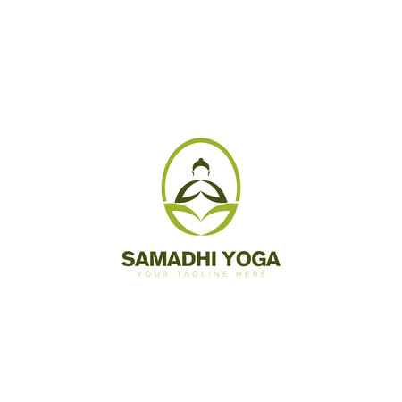 Buddha Yoga Natural Logo Design, Modern Logo, Natural Buddha and Leaf Logo, Two Hands