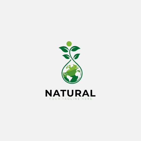 Green Natural world logo designs with tree