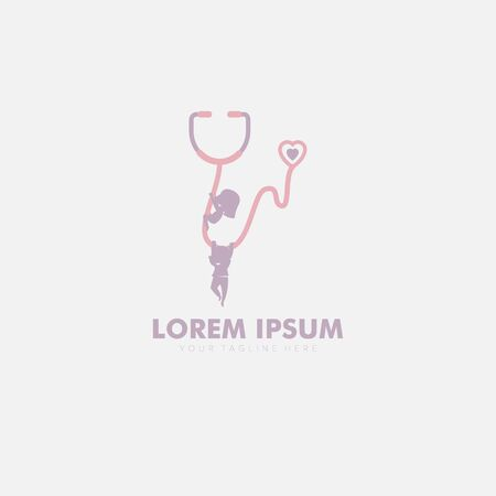 pediatrician logo designs with child and stethoscope
