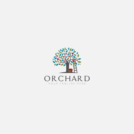 apple tree logo designs with stairs, growth logo designs Illustration