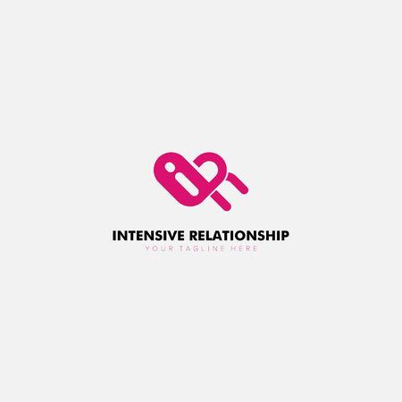 Intensive relationship Loving logo Designs with communicate and initial Archivio Fotografico - 129793157