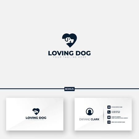 loving dog modern logo designs cute dog free business card Çizim