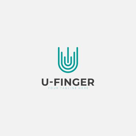 abstract line initial u with finger print logo designs