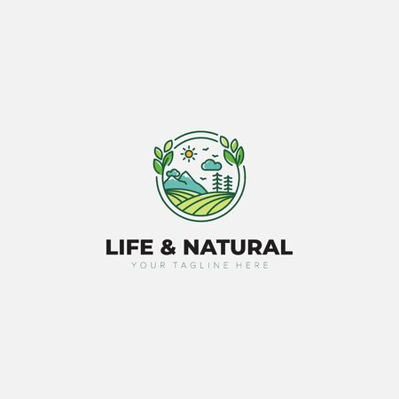 Natural and Life Landscape logo designs with mountain, leaf, land, garden, tree Vettoriali
