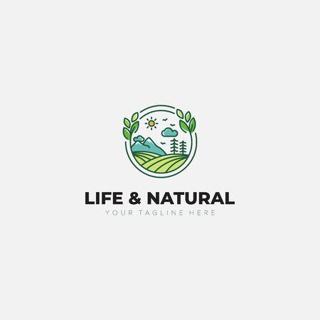 Natural and Life Landscape logo designs with mountain, leaf, land, garden, tree Illustration
