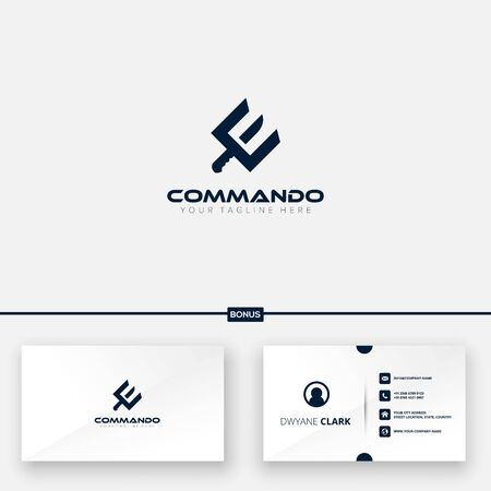 Commando logo initial e with equipment knife for the logo and free business card