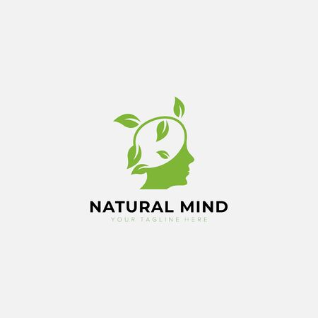 Mind natural logo with head person and leaf