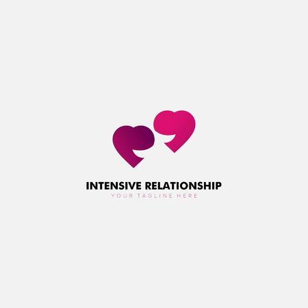 Intensive relationship Loving logo Designs with communicate and initial Archivio Fotografico - 129793248