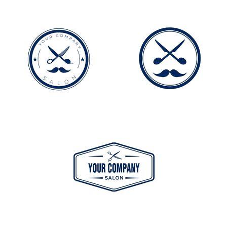 barbershop logo design with scissor and mustache badge logo