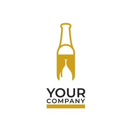 luxury gold bottle and glasses wine logo design Çizim