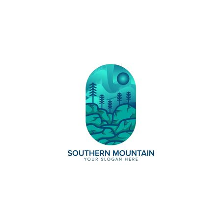 southern mountain abstract logo design with sun blue