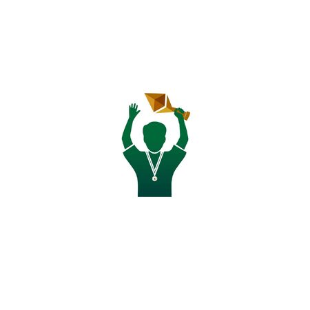 winner championship and get gold medal illustration with green people Иллюстрация