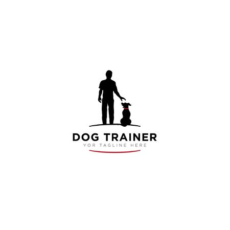 Dog trainer logo with black human modern logo, dog shit down
