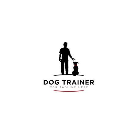 Logotipo de entrenador de perros con logotipo moderno humano negro, mierda de perro