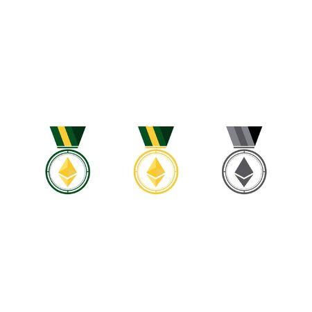 gold medal illustration for championship eth, bitcoin
