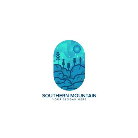 southern hill full color logo design with sun blue Иллюстрация