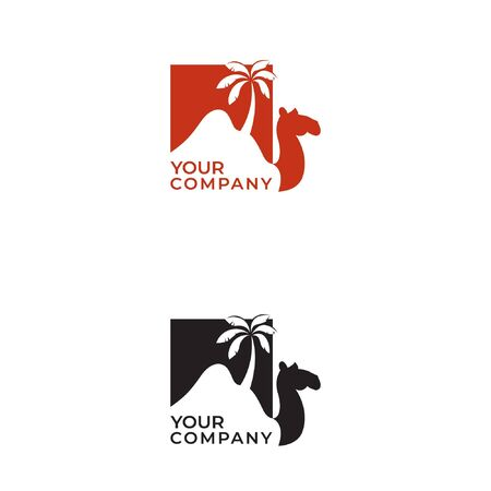 Camel desert and palm logo design and negative space with lettering  イラスト・ベクター素材