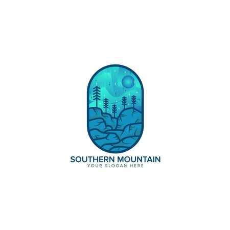 southern hill and mountain badge logo design with sun blue