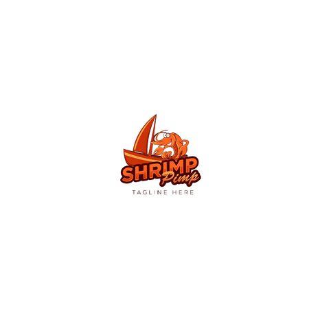 Orange Shrimp Pump Logo Design, Seafood and Shrimp Logo