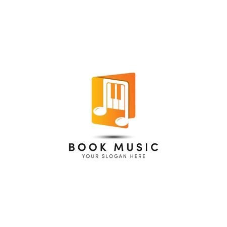 Open music book logo designs with orange not piano