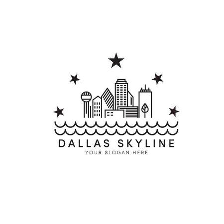 Dallas skyline logo designs with stars and river logo