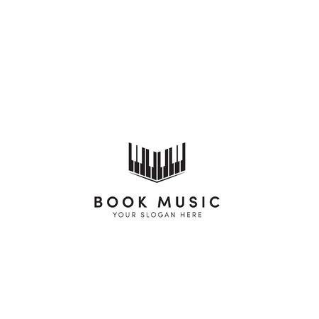 Open music book logo designs with black piano