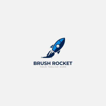blue and brush rocket art logo design modern logo