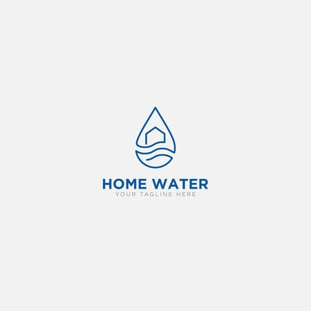Home Water logo design with line art modern logo