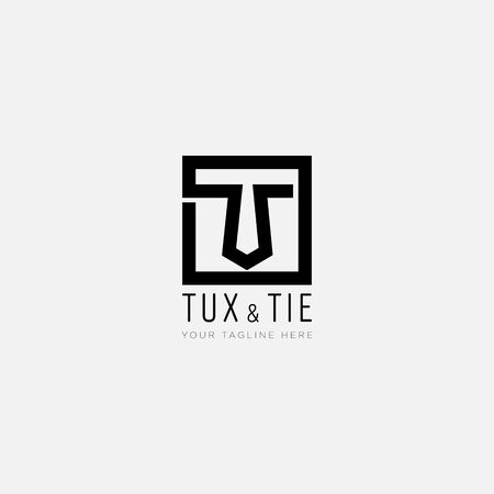 initial T like Tie and with line square logo designs