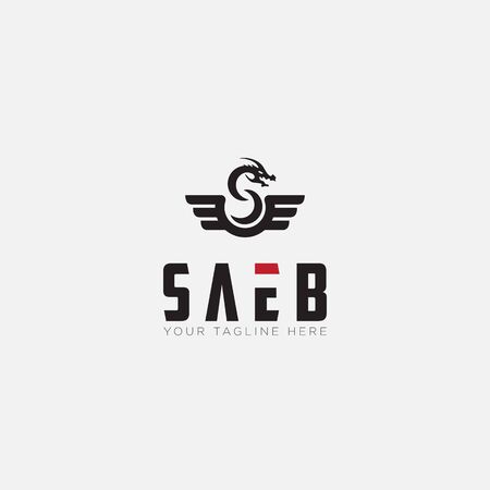 Saeb logo designs with Dragon and Wings logo