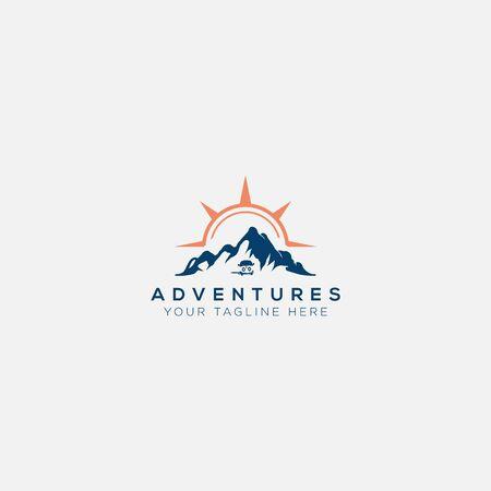 vans adventure mountain and compass sun logo Illustration