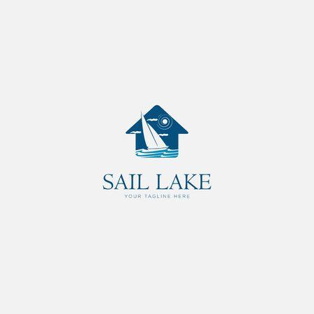 sail lake home logo designs modern Illusztráció