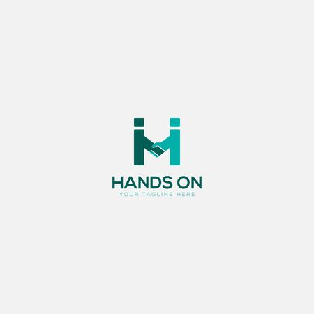 hands on logo with two humans holding hands together Stock Illustratie