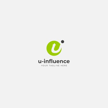 u influence logo design with letter u and i Stock Illustratie