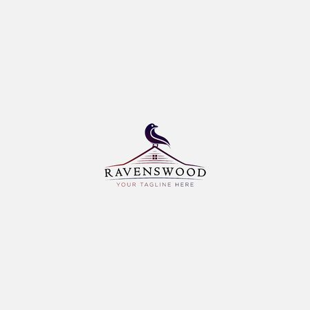Raven wood and house logo design