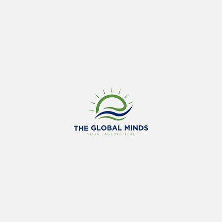 the global minds logo design with sun abstract
