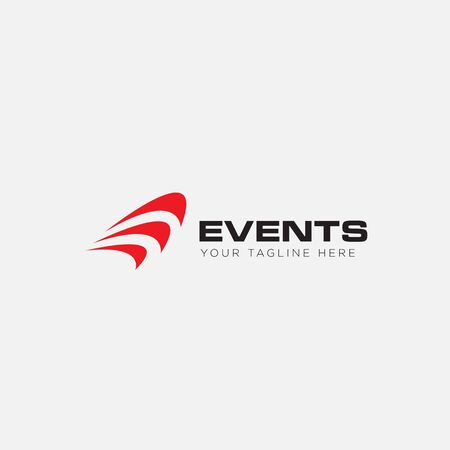 events logo with sound and music logo Stock Illustratie