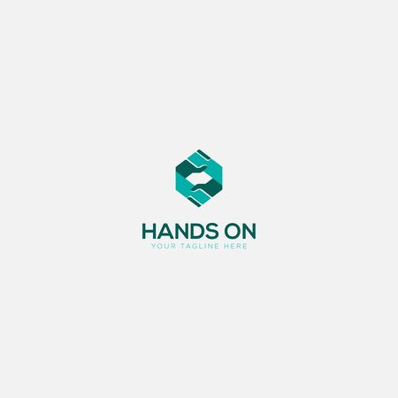 hands on logo with geometric holding hands Stock Illustratie