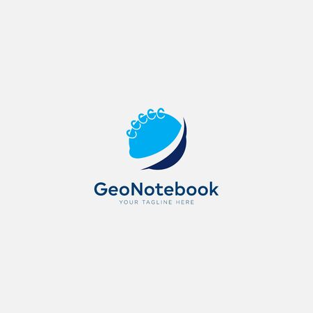 geo notebook logo with blue earth and notes Stock Illustratie