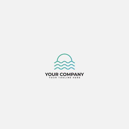 line water and sun logo, simple lake logo, river and sunrise logo
