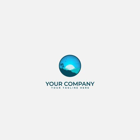 Blue beach and palm logo, sea logo, palm logo