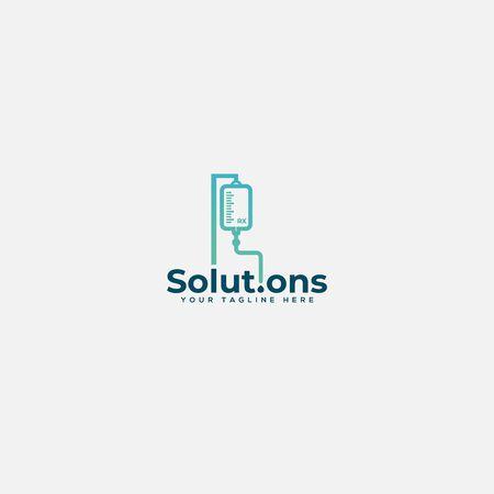 diseño de logotipo de infusión médica y de salud
