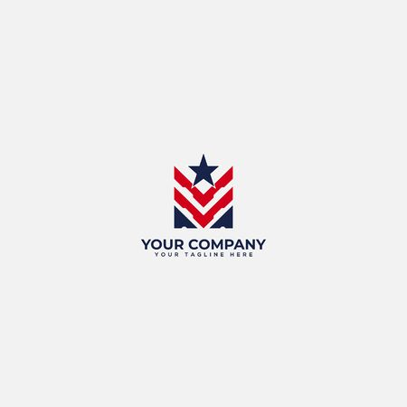 abstract american military and veteran military logo Vectores