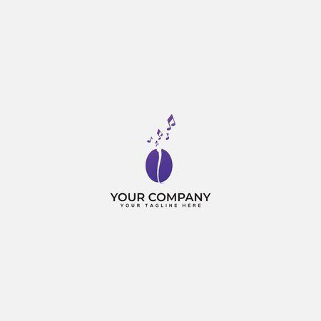 coffee and musically logo, sound coffee, note coffee logo Çizim