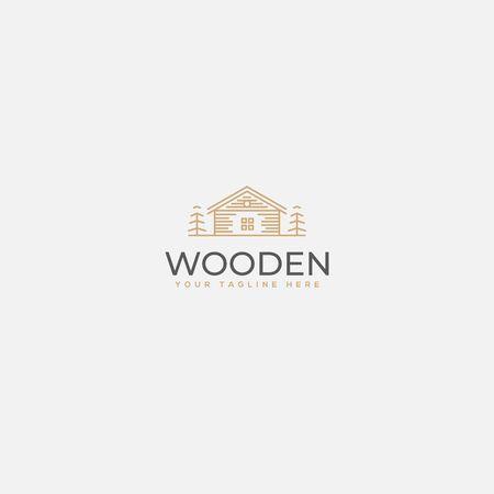 minimalist wooden home logo Ilustrace