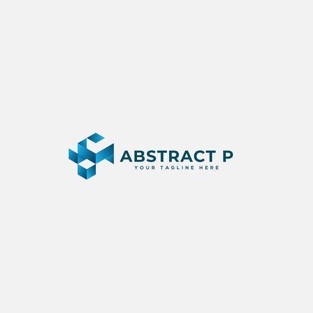 Lettre P abstraite et logo géométrique