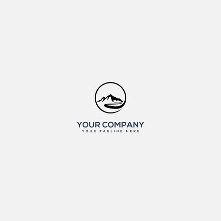 mountain and river logo, outdoor and landscape logo