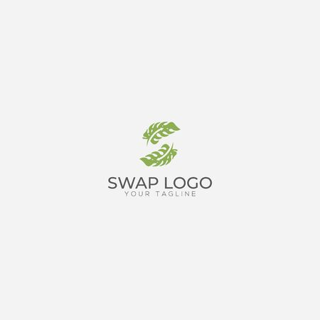 Swap leaf and letter S logo two leaf