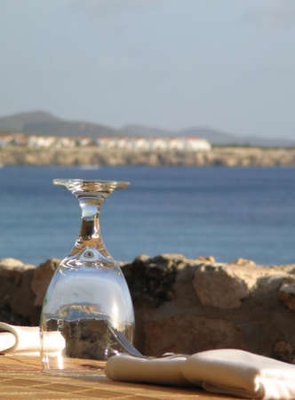 Glass at Restaurant near beach in Curacao, Dutch Antilles
